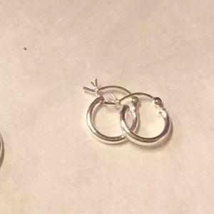 Two Pairs 925 Sterling Silver Hoop